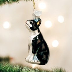Boston Terrier Vintage Dog Christmas Ornament