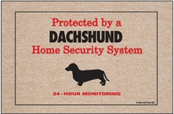Protected by a Dachshund Home Security System Door Mat
