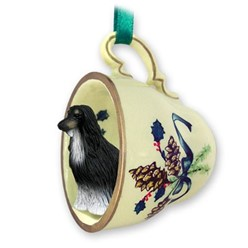 Afghan Hound Tea Cup Holiday Ornament- click for more breed colors
