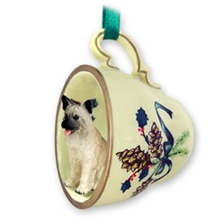 Akita Tea Cup Holiday Ornament- click for more breed colors