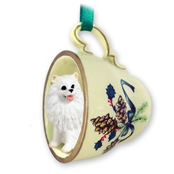 American Eskimo Tea Cup Holiday Ornament- click for more breed options