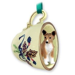 Basenji Tea Cup Holiday Ornament