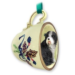 Bearded Collie Tea Cup Holiday Ornament