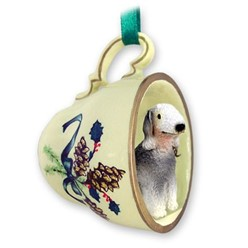 Bedlington Terrier Tea Cup Holiday Ornament