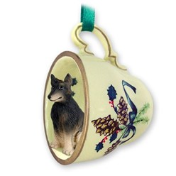 Belgian Tervuren Tea Cup Holiday Ornament