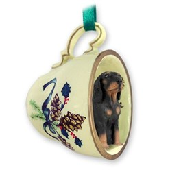 Coonhound Black and Tan Tea Cup Holiday Ornament