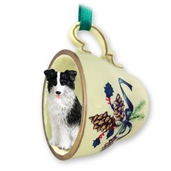 Border Collie Tea Cup Holiday Ornament
