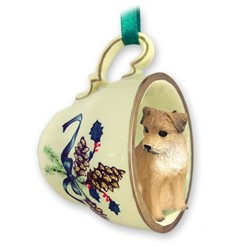 Border Terrier Tea Cup Holiday Ornament
