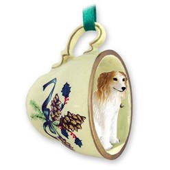 Borzoi Tea Cup Holiday Ornament