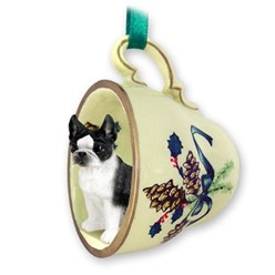 Boston Terrier Tea Cup Holiday Ornament