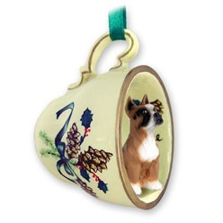 Boxer Tea Cup Holiday Ornament
