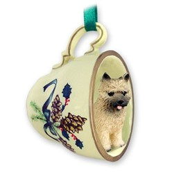 Cairn Terrier Tea Cup Holiday Ornament