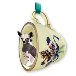 Chinese Crested Tea Cup Holiday Ornament