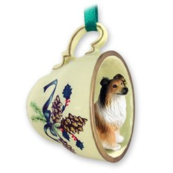 Collie Tea Cup Holiday Ornament
