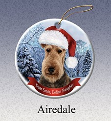 Airedale Dear Santa Dog Christmas Ornament