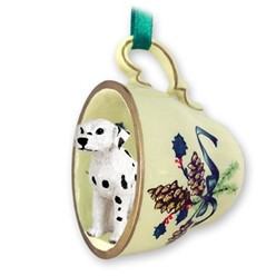 Dalmatian Tea Cup Holiday Ornament