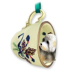 Dandie Dinmont Tea Cup Holiday Ornament