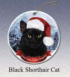 Black Cat Dear Santa Christmas Ornament