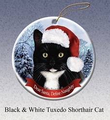 Tuxedo Black & White Dear Santa Cat Christmas Ornament