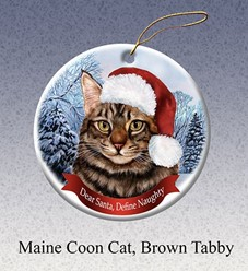 Maine Coon  Dear Santa Cat Christmas Ornament - click for more breed colors