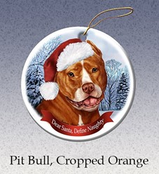 Pit Bull Cropped Dear Santa Dog Christmas Ornament - click for breed colors