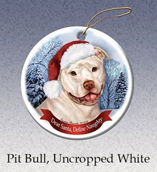 Pit Bull Uncropped Dear Santa Dog Christmas Ornament - click for breed colors
