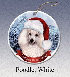 Poodle Dear Santa Dog Christmas Ornament - click for breed colors
