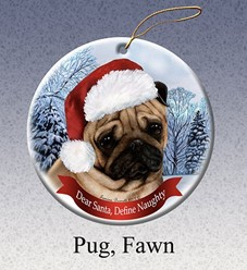 Pug Dear Santa Dog Christmas Ornament