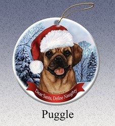 Puggle Dear Santa Dog Christmas Ornament