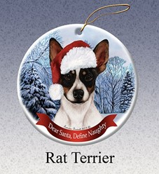 Rat Terrier Dear Santa Dog Christmas Ornament