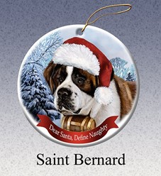 Saint Bernard Dear Santa Dog Christmas Ornament
