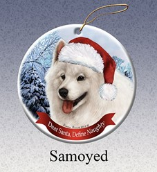Samoyed Dear Santa Dog Christmas Ornament