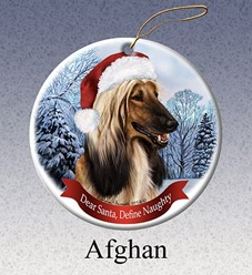 Afghan Hound Dear Santa Dog Christmas Ornament