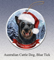 Australian Cattle Dog Dear Santa Christmas Ornament- Click for more breed colors