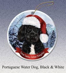 Portuguese Water Dog Dear Santa Dog Christmas Ornament