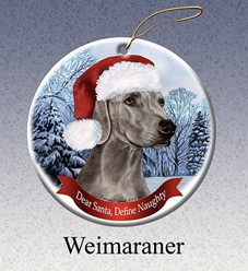 Weimaraner Dear Santa Dog Christmas Ornament