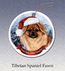 Tibetan Spaniel Dear Santa Dog Christmas Ornament