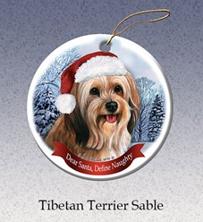 Tibetan Terrier Dear Santa Dog Christmas Ornament