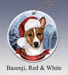 Basenji Dear Santa Dog Christmas Ornament