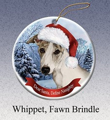 Whippet Dear Santa Dog Cristmas Ornament