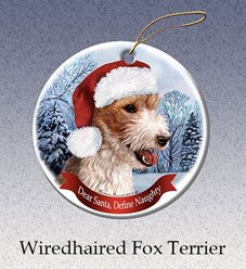 Wiredhaired Fox Terrier Dear Santa Dog Christmas Ornament