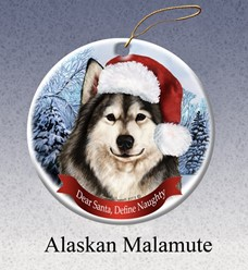 Alaskan Malamute Dear Santa Dog Christmas Ornament