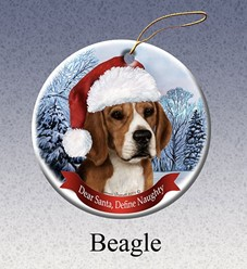 Beagle Dear Santa Dog Christmas Ornament