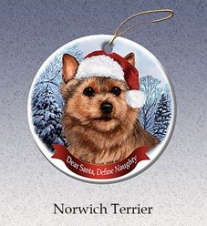 Norwich Terrier Dear Santa Dog Christmas Ornament