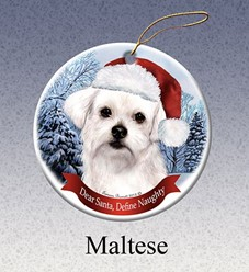 Maltese Dear Santa Dog Christmas Ornament