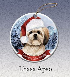 Lhasa Apso Dear Santa Dog Christmas Ornament