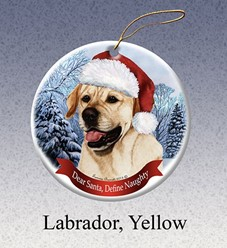 Labrador Retriever Dear Santa Dog Christmas Ornament