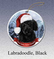Labradoodle Dear Santa Dog Christmas Ornament- Click for more breed colors