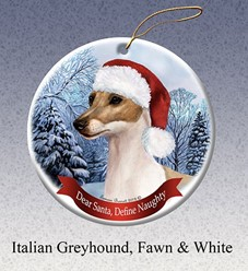 Italian Greyhound Dear Santa Christmas Ornament- Click for more breed colors
