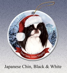 Japanese Chin Dear Santa Christmas Ornament